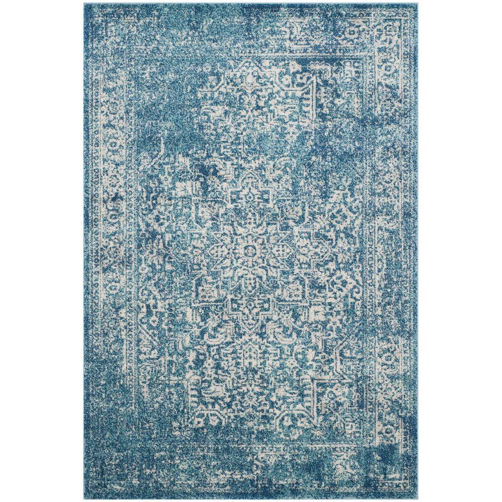 Evoke Blue/Ivory 4 ft. x 6 ft. Area Rug