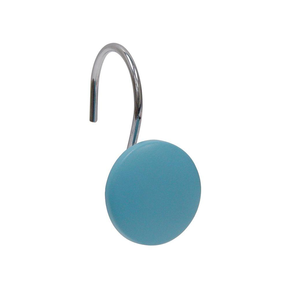 Elegant Home Fashions Resin Circle Design Shower Curtain Hooks in Blue (12-Pack)-DISCONTINUED