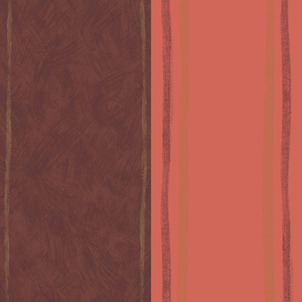 The Wallpaper Company 56 sq. ft. Orange and Brown Large Contemporary Soft Edge Vertical Stripe Wallpaper