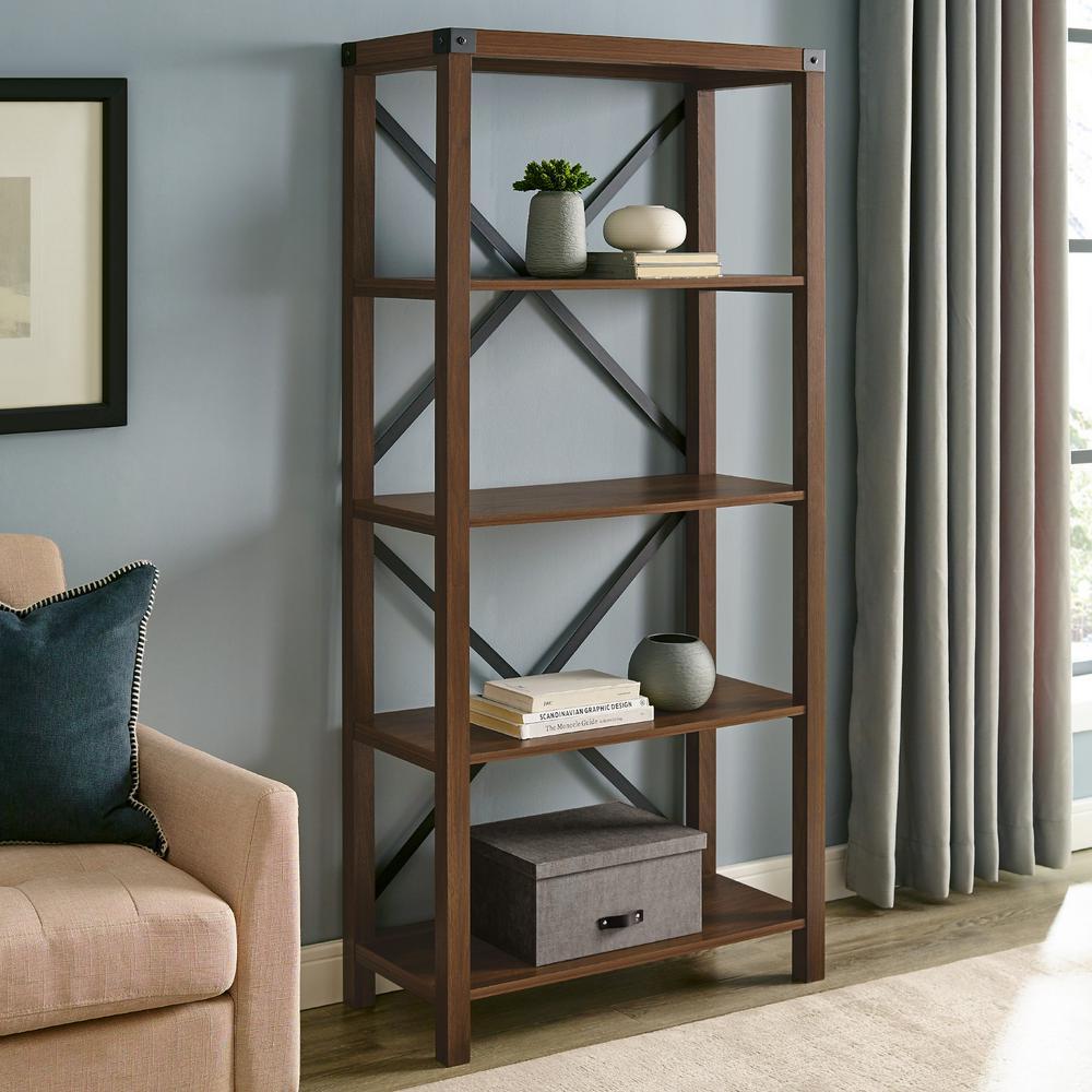 64 in. Dark Walnut Wood 4-shelf Etagere Bookcase with Open Back