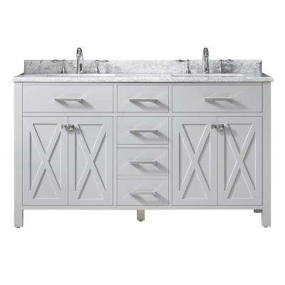 Xena 60 in. W x 22 in. D Vanity in Dove Gray with Marble Vanity Top in Carrera with White Basin