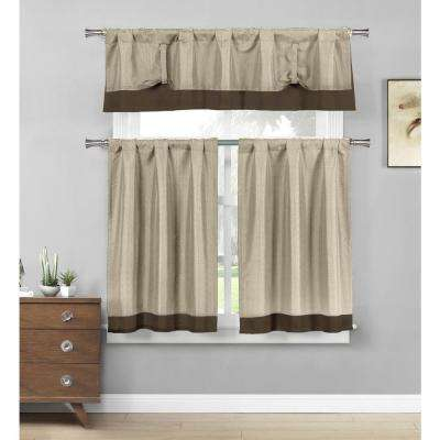 Max Linen-Chocolate Linenlook Kitchen Curtain Set - 58 in. W x 15 in. L in (3-Piece)