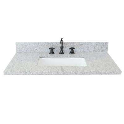 Ragusa II 37 in. W x 22 in. D Granite Single Basin Vanity Top in Gray with White Rectangle Basin