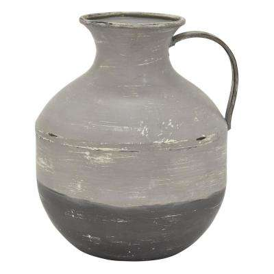 10.5 in. Gray Metal Vase
