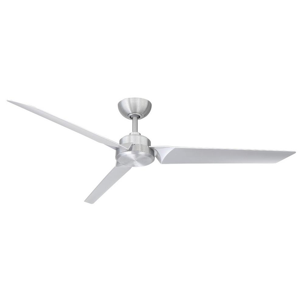 Modern Forms Roboto 62 in. Indoor/Outdoor Brushed Aluminum 3-Blade Smart Ceiling Fan with Wall Control