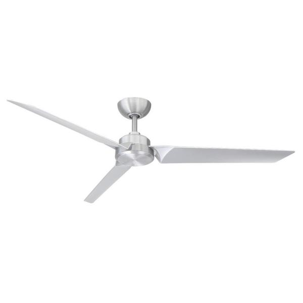 Roboto 62 in. Indoor/Outdoor Brushed Aluminum 3-Blade Smart Ceiling Fan with Wall Control
