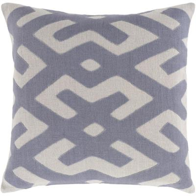 Rigault Navy Geometric Polyester 22 in. x 22 in. Throw Pillow