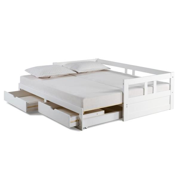 Versatility White Daybed Wood Pine Single Bed Frame w// Pull out Trundle Bedframe