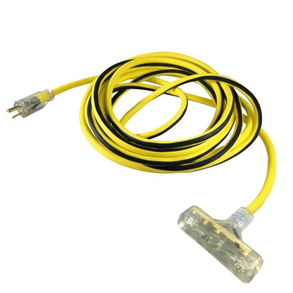 USW 100 ft. 12/3 Yellow Triple Tap Extension Cord with Lighted Plug