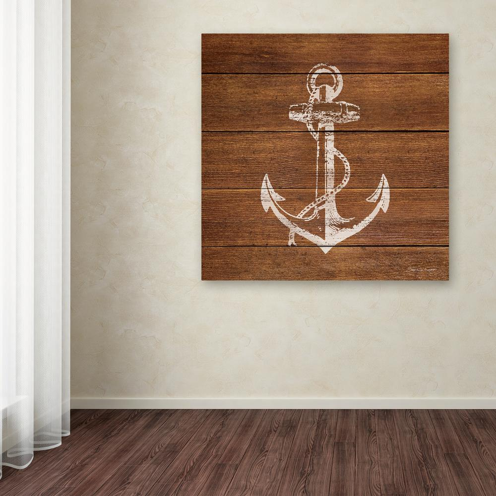 trademark fine art 24 in x 24 in anchor on wood by stephanie