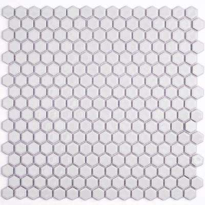 Bliss Hexagon White 12 in. x 12 in. x 10 mm Polished Ceramic Mosaic Tile