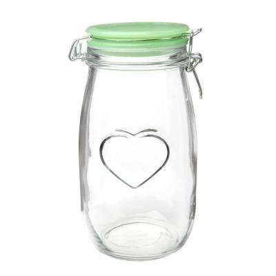 Valentina 52 oz. Glass Hermetic Preserving Canister with Jadeite Lid
