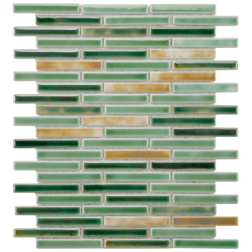 MerolaTile Merola Tile Rustica Brick Springfield 10-3/4 in. x 12-3/4 in. x 8 mm Porcelain Mosaic Tile, Forest Green and Tan / Mixed Finish