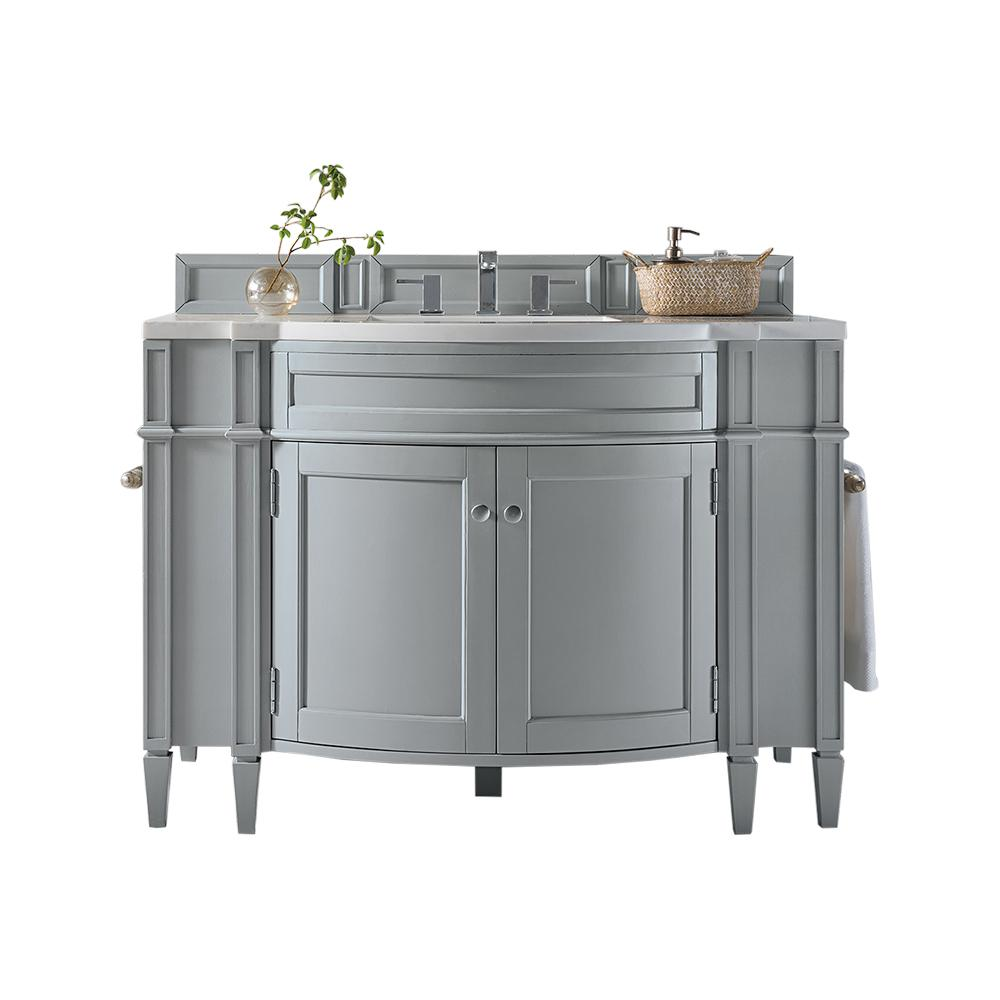 James Martin Signature Vanities Brittany 46 in. W Single Vanity in Urban Gray with Marble Vanity Top in Carrara White with White Basin