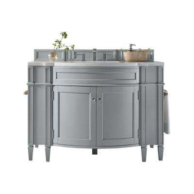 Brittany 46 in. W Single Vanity in Urban Gray with Marble Vanity Top in Carrara White with White Basin