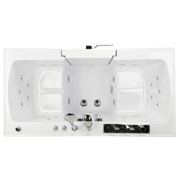 Ella Tub4two 60 In Walk In Whirlpool And Microbubble Bathtub In White Rh Outward Door Heated Seat Faucet 2 In Dual Drain O2sa3260hmh R The Home Depot