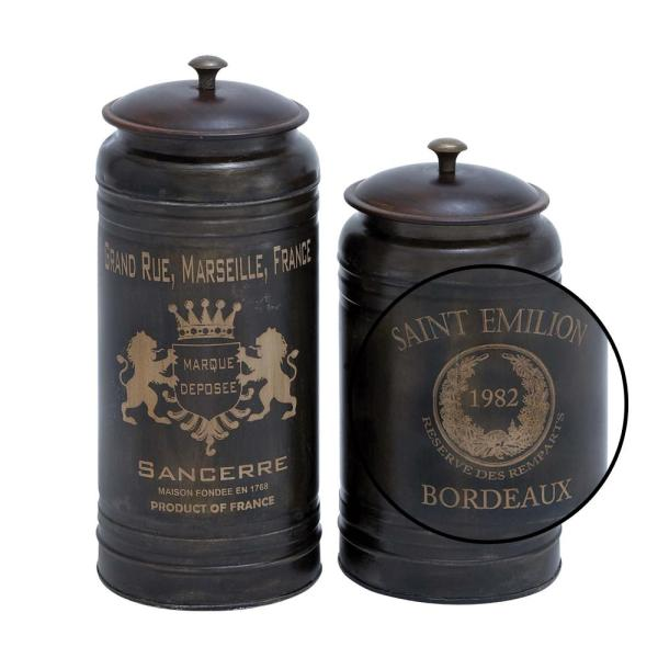 Litton Lane Black Crown And Laurel Iron Metal Canisters With Walnut Brown Lids Set Of 2 38125 The Home Depot