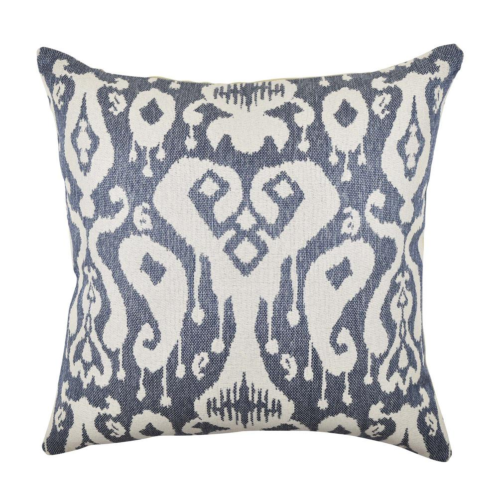 Gray Blue Ikat Inspired Woven Throw Pillow