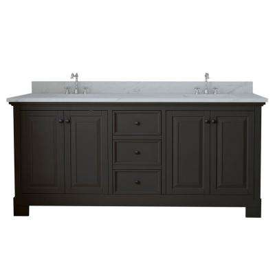 Richmond 72 in. W x 22 in. D Double Vanity in Espresso with Marble Vanity Top in White with White Basin