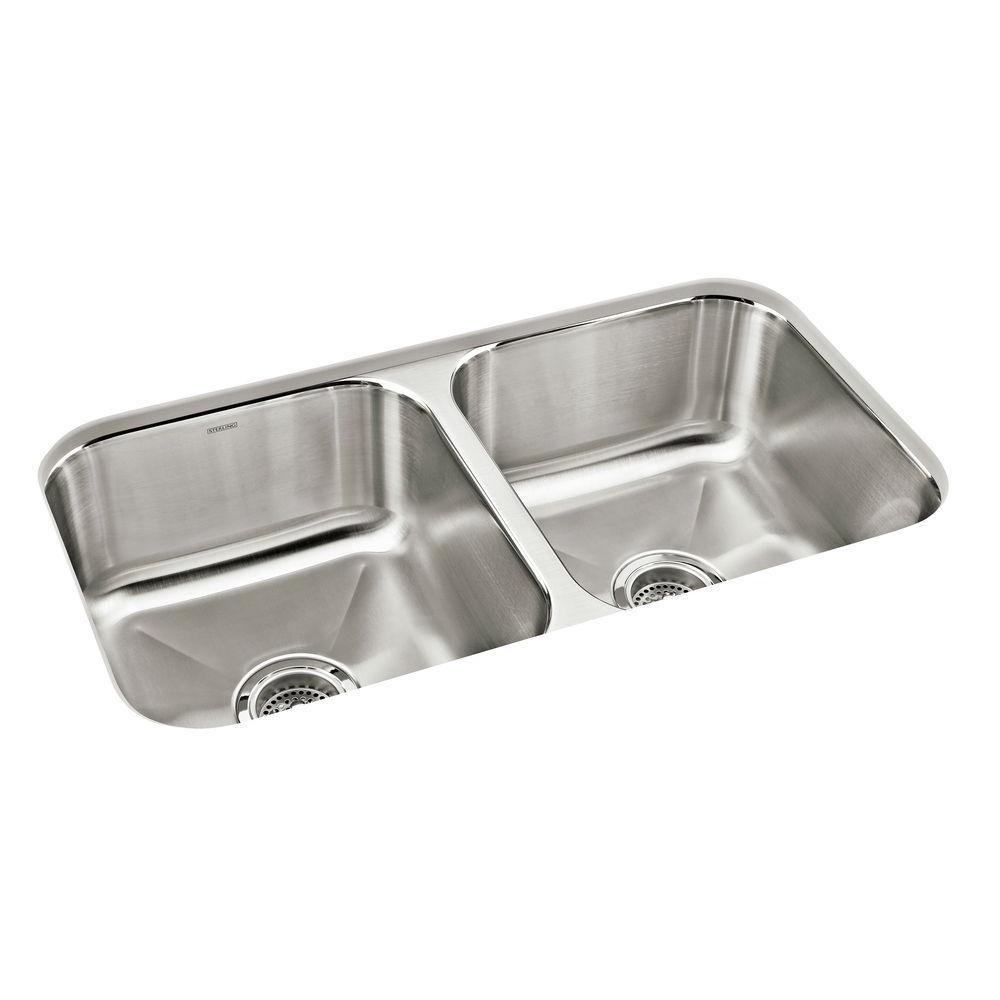 Carthage Undermount Stainless Steel 32 in. Double Bowl Kitchen Sink