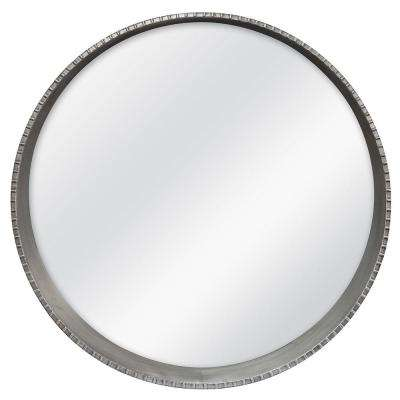 Summit 30 in. H x 30 in. W Round Framed Mirror with Built-in Ledge in Pewter
