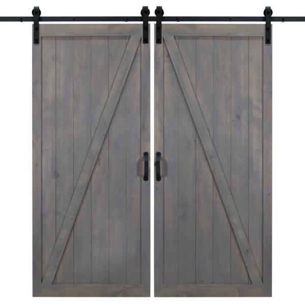 36 in. x 84 in. Classic Z Ash Gray Double Sliding Barn Door with Hardware Kit