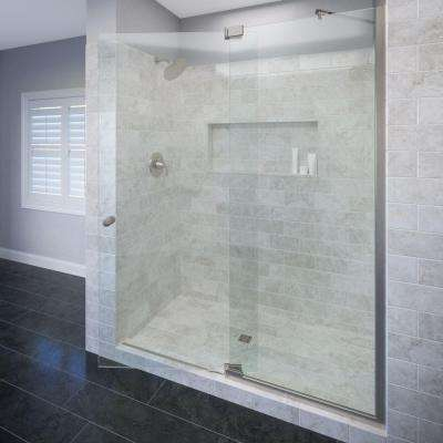 Cantour 48 in. x 76 in. Semi-Frameless Pivot Shower Door in Brushed Nickel with Handle