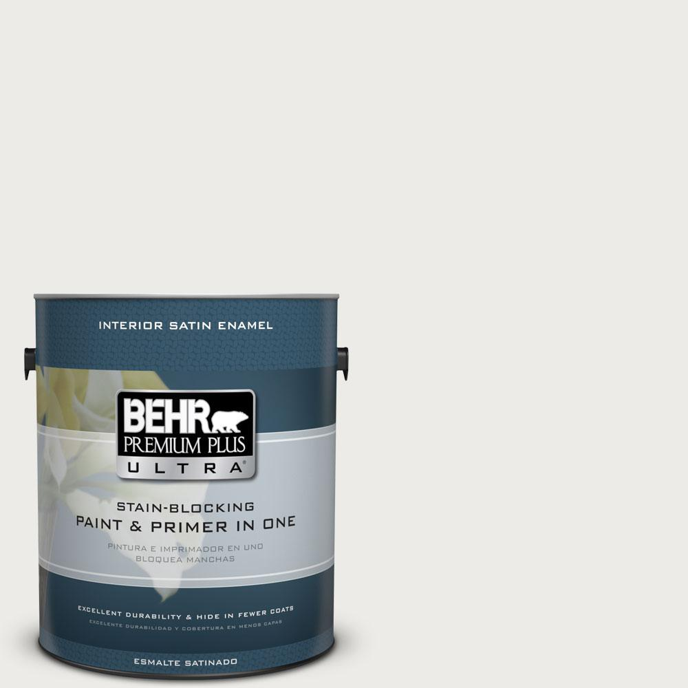 1 gal. #PPU12-12 Gallery White Satin Enamel Interior Paint and Primer