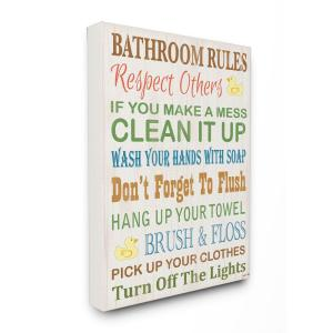 Stupell Industries 16 In X 20 In Bathroom Rules Typography Rubber