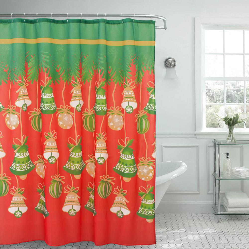 Creative Home Ideas Holly Jolly Christmas 72 In X Shower Curtain