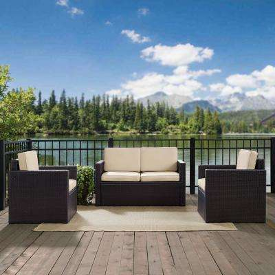 Palm Harbor 3-Piece Wicker Outdoor Seating Set with Sand Cushions - Loveseat and 2 Outdoor Chairs