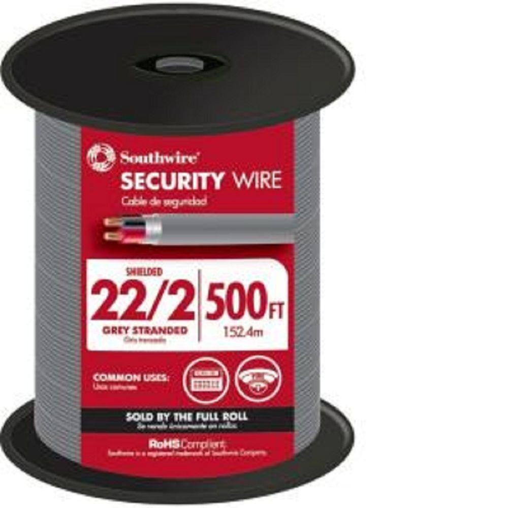 Southwire (By-the-Foot) 22/2 Gray Stranded CU CL3R Shielded Security ...