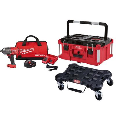 M18 FUEL 18- -Volt Lithium-Ion Brushless Cordless 1/2 in. Impact Wrench Kit with PACKOUT Tool Box and Dolly