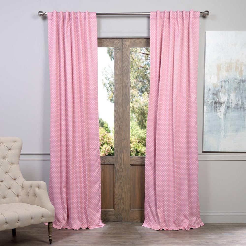 Purple polka dot curtains - Exclusive Fabrics Furnishings Semi Opaque Pink Polka Dot Blackout Curtain 50 In