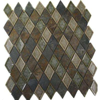 Roman Selection Emperial Slate Diamond 11 in. x 11 in. x 8 mm Glass Mosaic Floor and Wall Tile