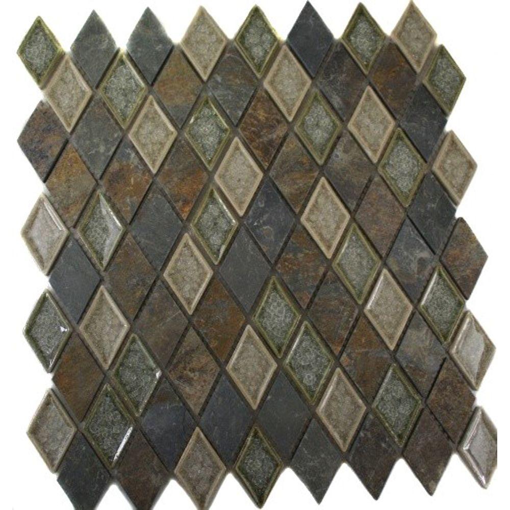 Splashback Tile Roman Selection Emperial Slate Diamond 11 in. x 11 ...