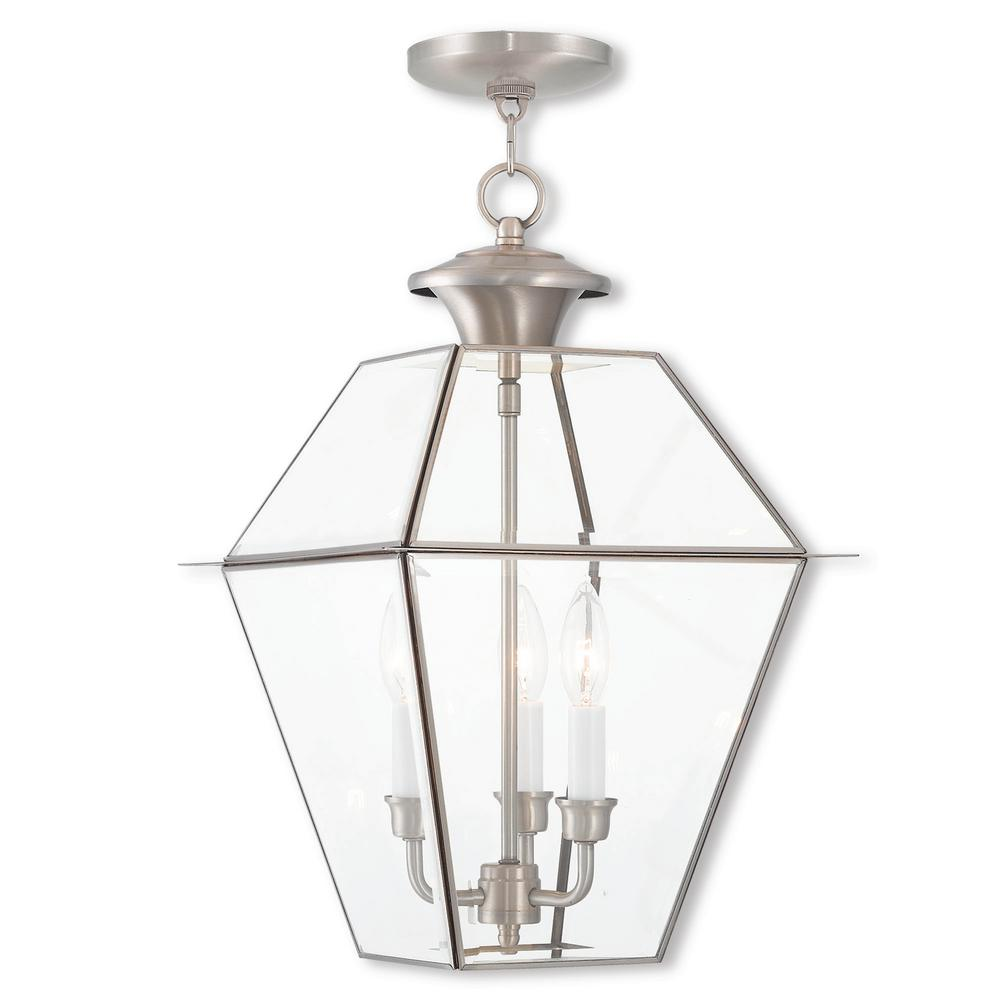 Westover 3 Light Brushed Nickel Outdoor Pendant Lantern