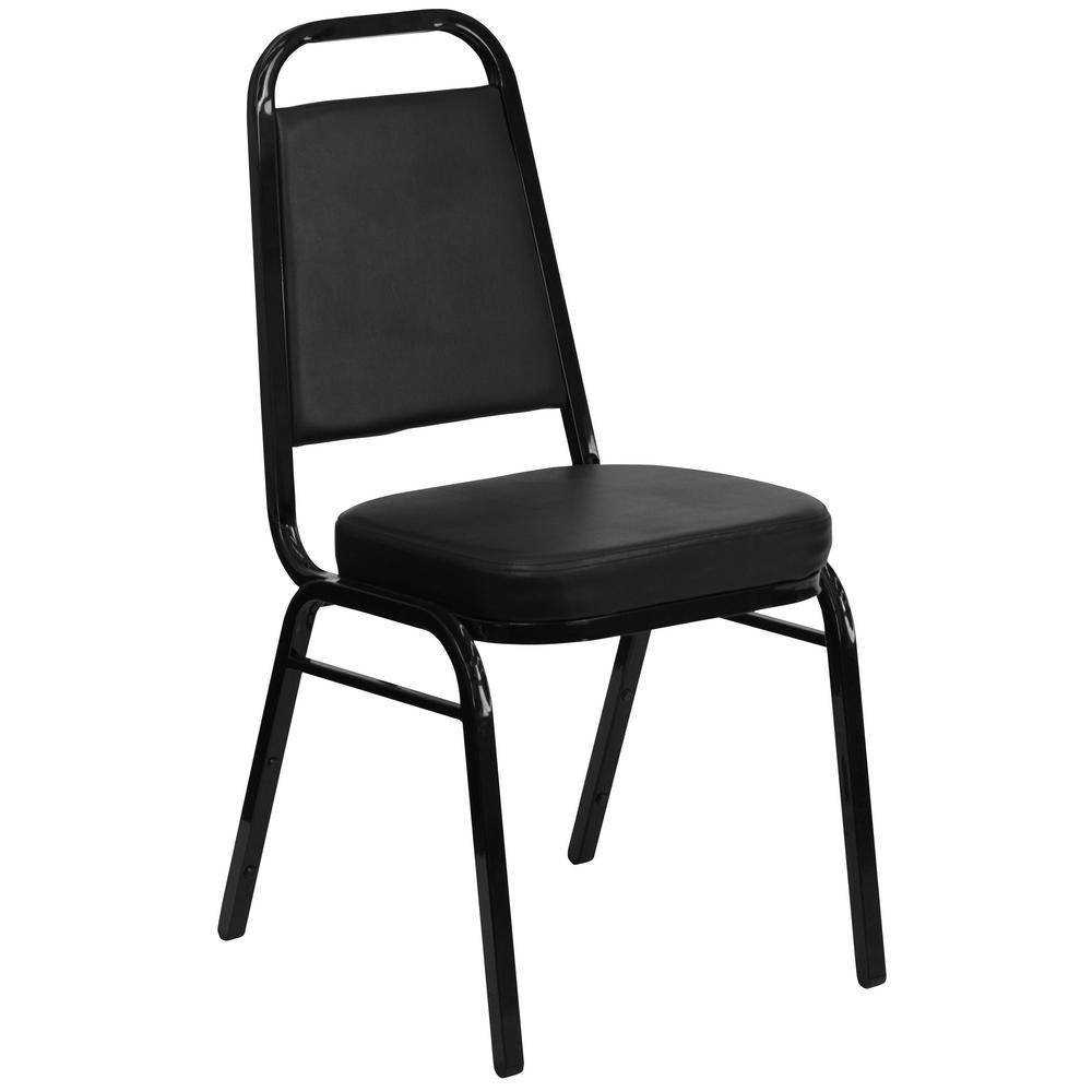 Flash Furniture Black Vinyl/Black Frame Stack Chair CGA-FD-0238-BL-HD
