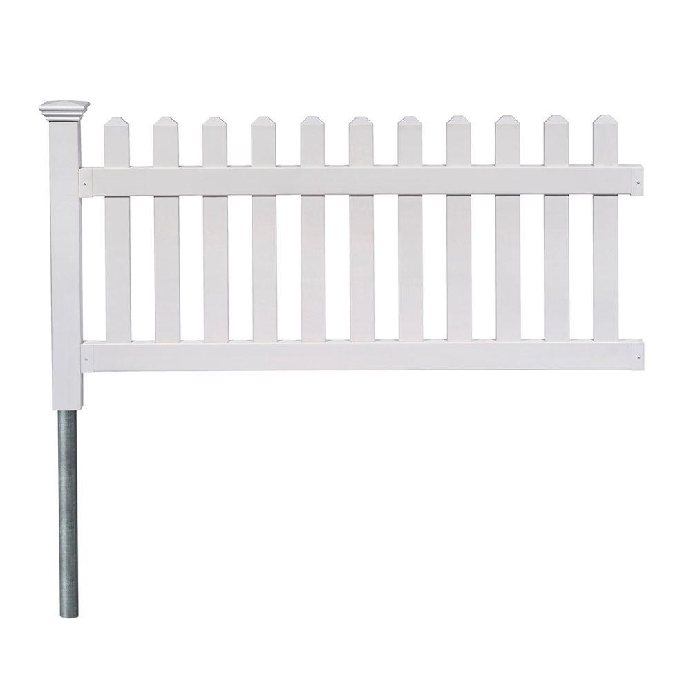 3 ft. x 6 ft. Newport Picket Fence W/Post and No-Dig