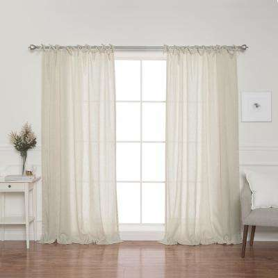 Natural Faux Linen Tie Top Curtain Panel - 84 in. L x 52 in. W (2-Pack)