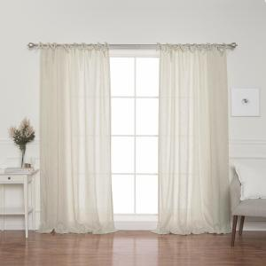 Natural Faux Linen Tie Top Curtain Panel - 84 inch L x 52 inch W (2-Pack) by