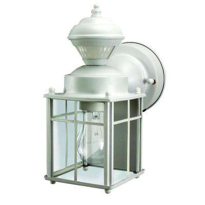 Bayside Mission 150 Degree Matte White Motion Sensing Outdoor Lantern