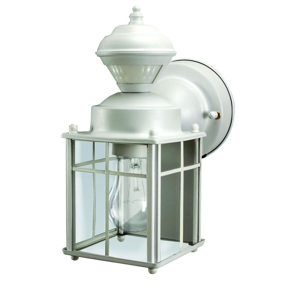 Bayside Mission 150° Matte White Motion Sensing Outdoor Lantern