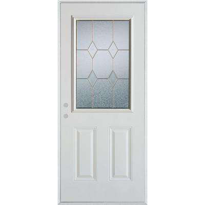 37.375 in. x 82.375 in. Geometric Brass 1/2 Lite 2-Panel Painted White Right-Hand Inswing Steel Prehung Front Door