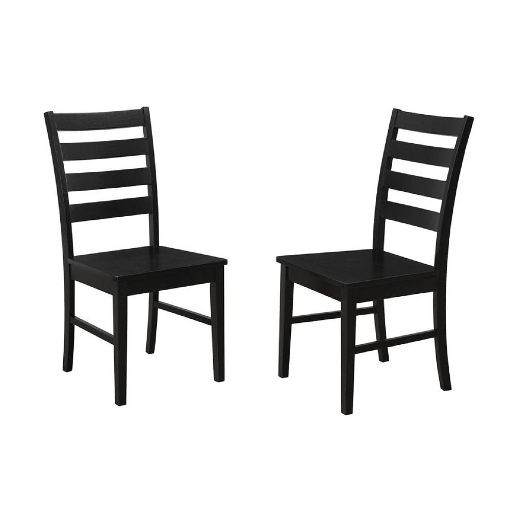 Walker Edison Furniture Company Black Wood Ladder Back Dining Chair Set Of 2 Hdh2lbbl The