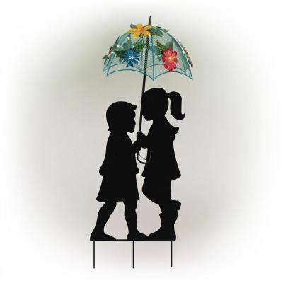 39 in. Tall Outdoor Solar Powered LED Lights Girl and Boy Silhouette with Umbrella Yard Statue
