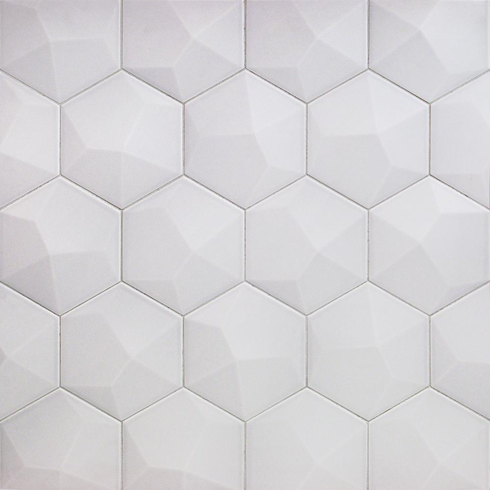 Ivy Hill Tile Bethlehem 3D Hexagon Pearl 5.9 in. x 6.96 in. x 8mm Matte Ceramic Wall Tile (25 pieces / 5.4 sq. ft. / box)