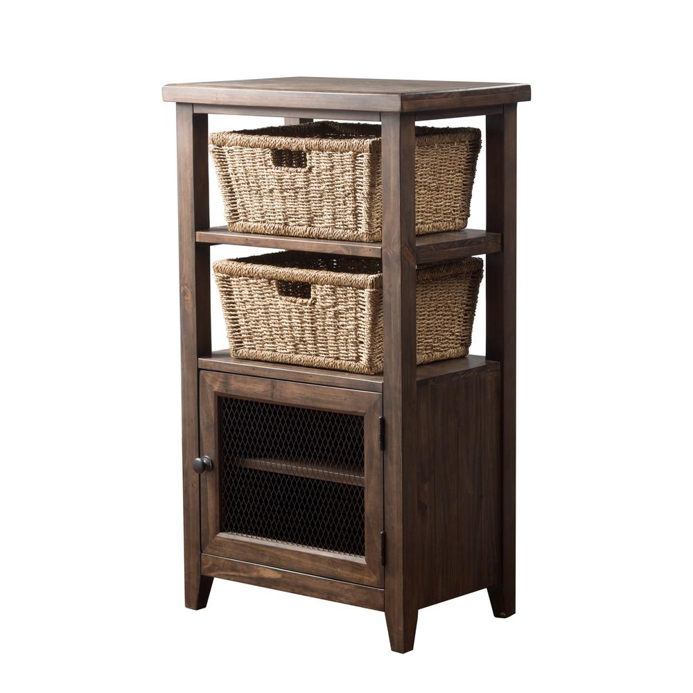 Tuscan Retreat Mocha Basket Stand with Wire Door and 2-Baskets