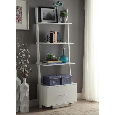 69 in. White Wood 4-shelf Ladder Bookcase with Open Back