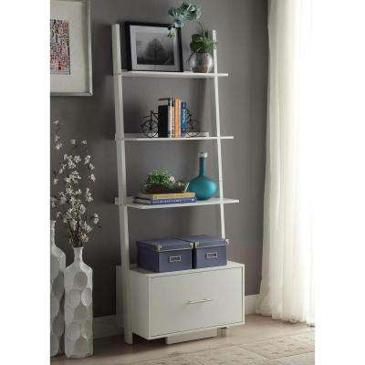 American Heritage White Ladder Bookcase with File Drawer